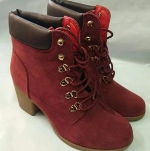 Women's Wine Color Ankle Boots Lace Up Closure